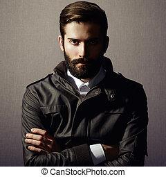 portré, jelentékeny, szakáll, ember