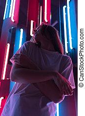 portré, kisasszony, gyönyörű, cyberspace., lámpa, neon, színes