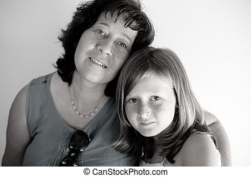 portré, lány, anya