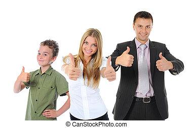 portré, mosolygós, család, boldog