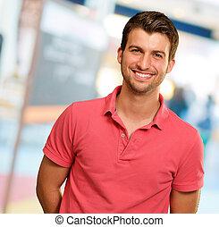 portré, mosolygós, fiatalember