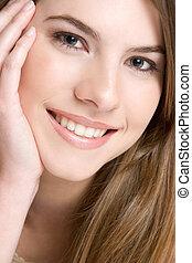 portré, mosolyog lány