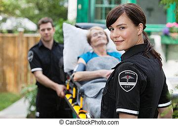 portré, munkás, mentőautó