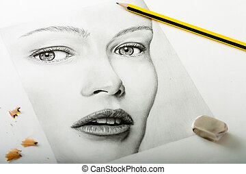 portré, nő, rajz