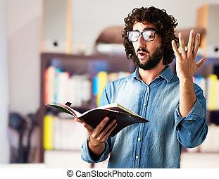 portré, olvasókönyv, ember