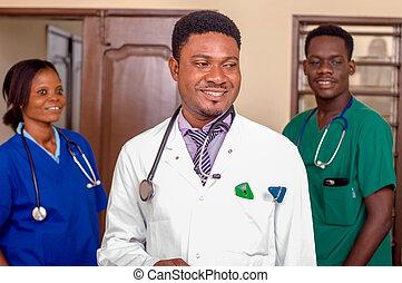 portré, orvosi, team.