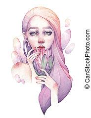portré, vízfestmény, leány, birtok, csinos, protea virág