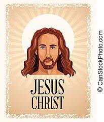 portré, vallásos, krisztus, jézus
