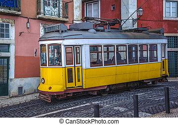 portugália, szüret, jelkép, villamos, sárga, lisszabon