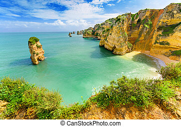 (portugal), idillikus, lagos, algarve, tengerpart, táj
