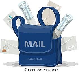 postás, boríték, táska, levél, felad, ikon