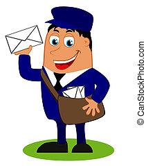 postás, táska, furcsa, levél