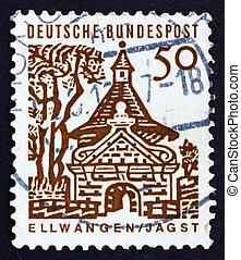 postaköltség, ellwangen, 1964, bélyeg, németország, bástya, kapu