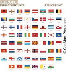 postaköltség, európa, állhatatos, bélyeg, flag., 62, flags., európai