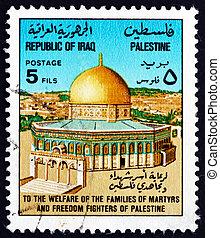 postaköltség, irak, bélyeg, kupola, kő, 1977, jeruzsálem