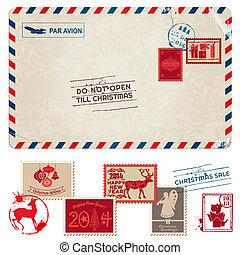 postaköltség, levelezőlap, szüret, -, karácsony, topog, vektor, scrapbook, tervezés