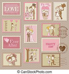 postaköltség, -, topog, vektor, tervezés, esküvő, scrapbook