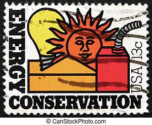postaköltség, usa, bélyeg, energia, 1977, megőrzés