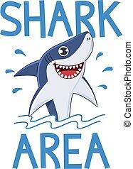 poster., támad, nyomtat, tervezés, vektor, karikatúra, cápa, póló, cápa, tenger, szlogen, merülés, hullámtörés, vagy, ábra, óceán, figyelmeztetés, transzparens