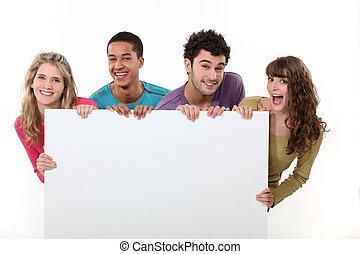 poszter, barátok, csoport, birtok, tiszta