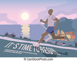 poszter, futás, ember, állóképesség