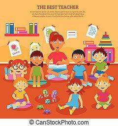 poszter, gyerekek, tanár