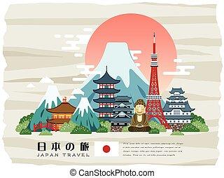 poszter, japán, bájos, utazás