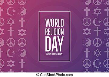 poszter, kártya, vasárnap, concept., day., inscription., ünnep, transzparens, háttér, vektor, illustration., sablon, szöveg, világ, january., harmadik, eps10, vallás