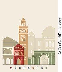 poszter, láthatár, marrakesh