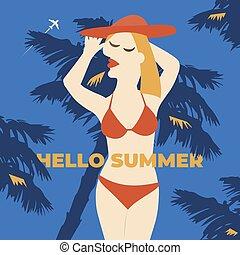 poszter, poster., leány, nyár, felirat, vektor, illustration., szünidő