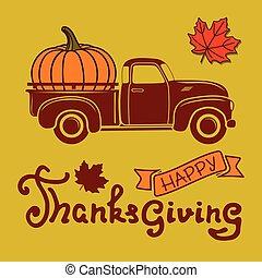 poszter, sablon, truck., hálaadás, nap, gyorsulás, vektor, sütőtök, boldog, ábra, szüret