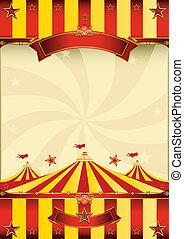 poszter, tető, cirkusz, piros sárga