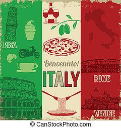 poszter, utazás, olaszország