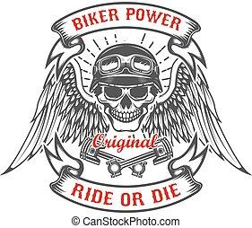 power., koponya, pistons., versenyfutó, két, bringás, keresztbe tett, megszabadít, kasfogó