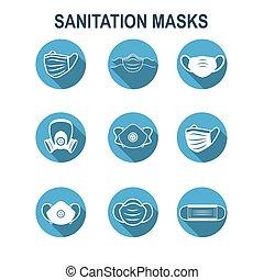 ppe, facemask, közegészségügy, légzési, állhatatos, ikon, maszk, arc, oltalom, nyugat