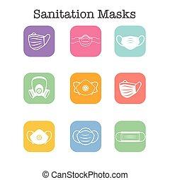 ppe, oltalom, légzési, facemask, maszk, nyugat, ikon, arc, közegészségügy, állhatatos