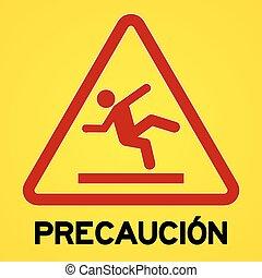 precaucion, jelkép, sárga, piros