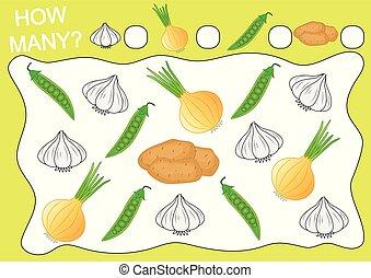 preschool, illustration., vektor, kifogásol, nevelési, sok, számol, játék, children., hogyan, szabad, vegetables., activity.