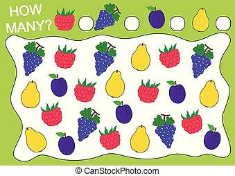 preschool, illustration., vektor, quince)., (raspberry, szőlő, nevelési, számol, játék, children., hogyan, szabad, gyümölcs, szilva, sok, activity.
