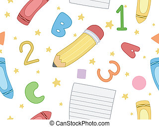preschool, seamless, háttér