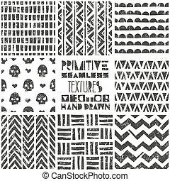 primitív, állhatatos, illustration., törzsi, modern, patterns., seamless, wallpaper., vektor, 8, backgrounds., divatba jövő, elegáns, geometriai, elvont, print.