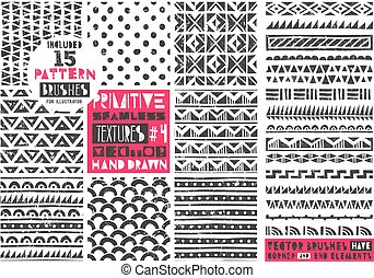 primitív, állhatatos, prints., collection., törzsi, modern, seamless, példa, vektor, backgrounds., divatba jövő, 8, geometriai, illustration.