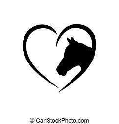 print.laser, aláír, vinyl, cutting., ló, cut., ábra, fehér, áttekintés, szív, keret, háttér, ing, icon.t, árnykép, rajz, fal, plotter, alakít, böllér, vektor, arc, lovak, fej, fekete, .love