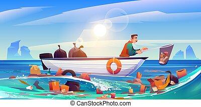 probléma, eco, víz óceán, razzia, szennyezett, szennyezés