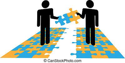 probléma, együttműködés, emberek, rejtvény, oldás