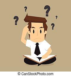 probléma, előjegyez, kibogoz, értesülés, talál, üzletember