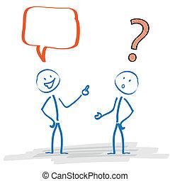 probléma, stickman, kommunikáció