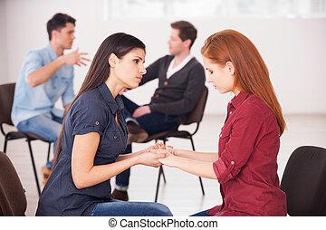 problems., birtok, csatlakozó, ülés, lehangolt, férfiak, két, arc, ételadag, időz, más, megfejt, háttér, kézbesít, mindegyik, nők