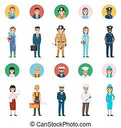 professions., fogalom, kerek, ikon, életnagyságú