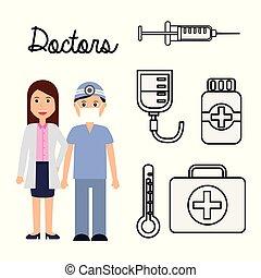profi, párosít, munka, orvosok, foglalkozás